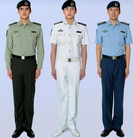 右是陆海空军的夏常服,不过陆军穿的是长袖夏常服.后两个短袖,图片